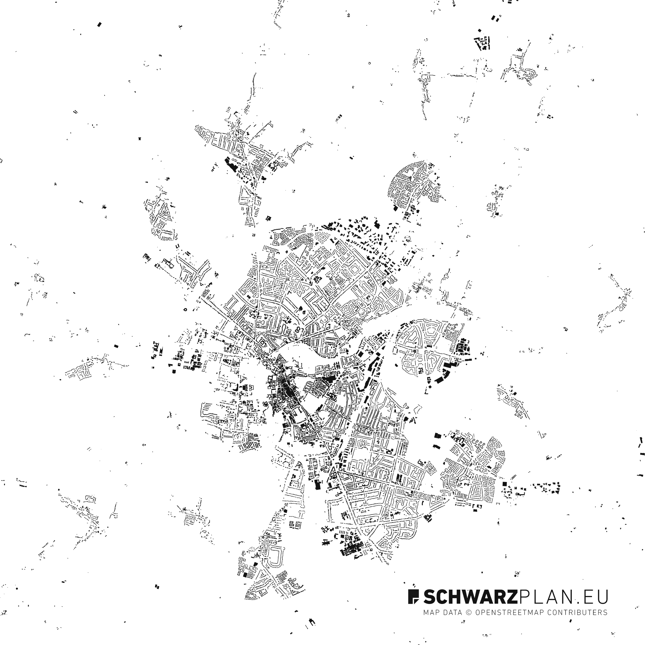 Figure ground plan of Cambridge in England