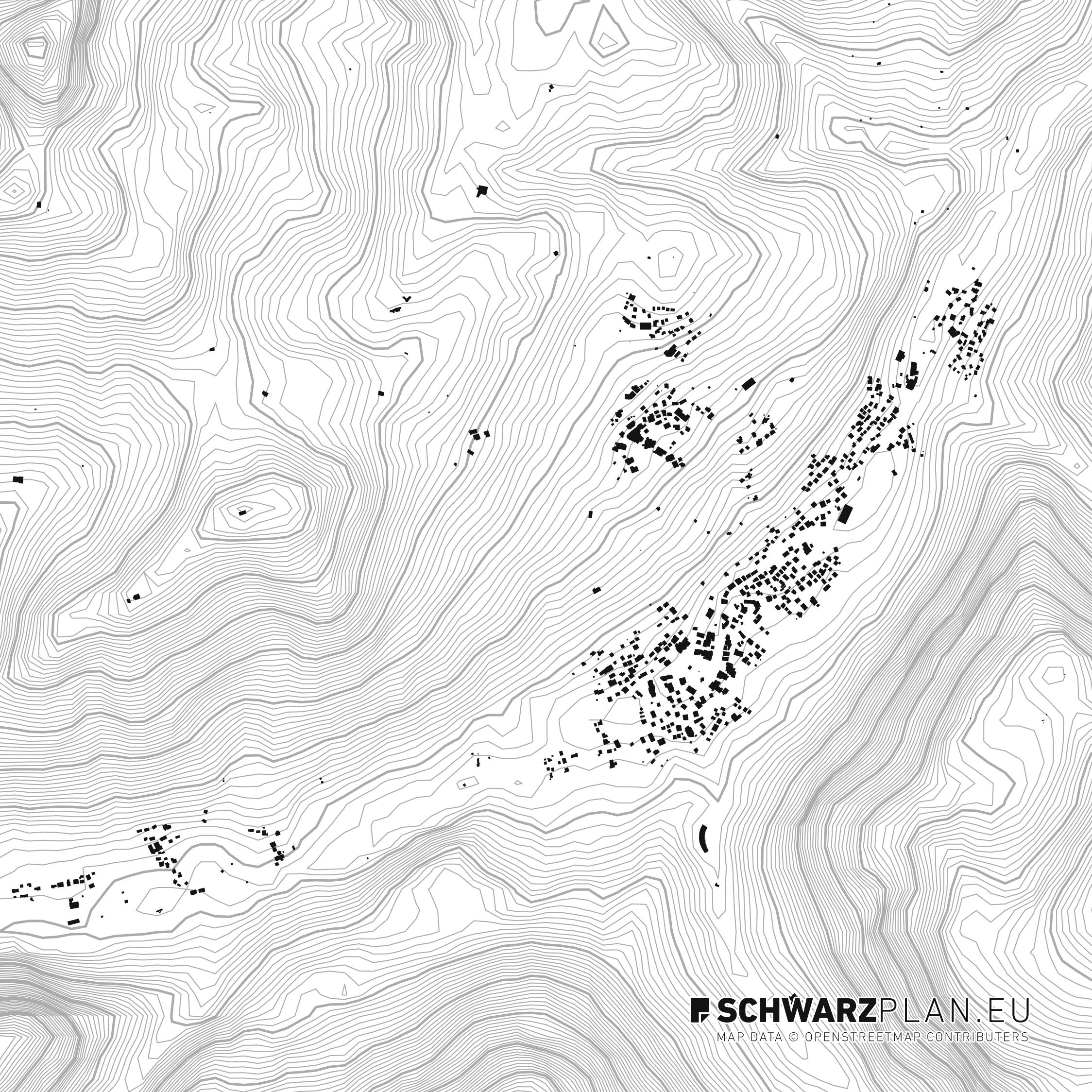 Schwarzplan von Lech und Zug in Österreich