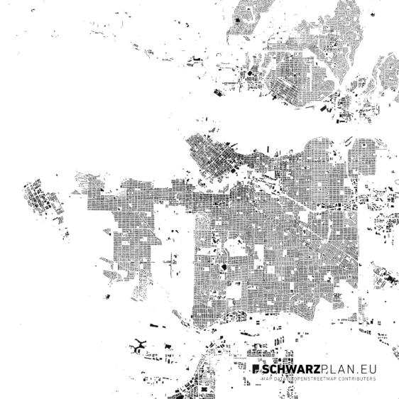 Schwarzplan von Vancouver in Kanada