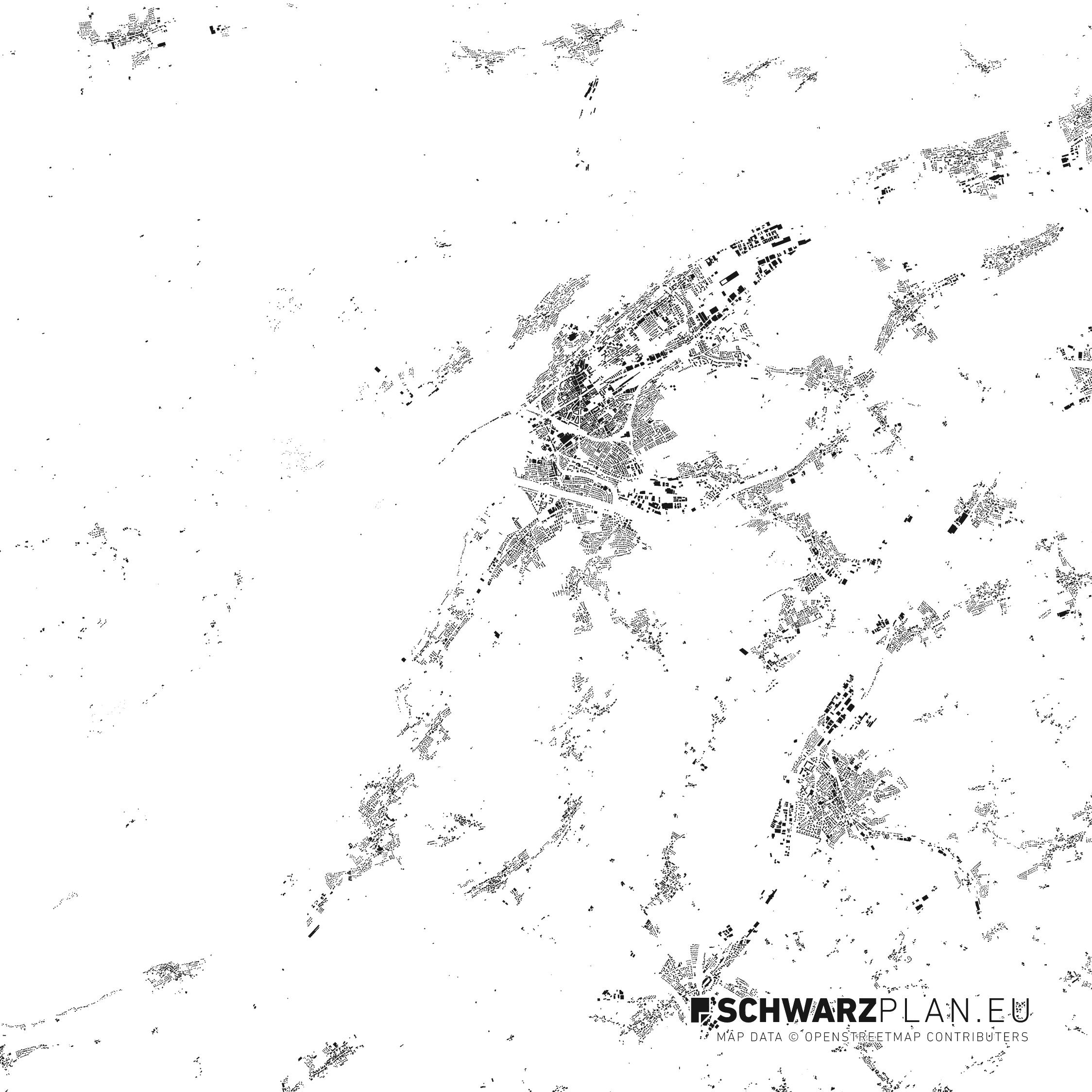 Schwarzplan von Biel in der Schweiz