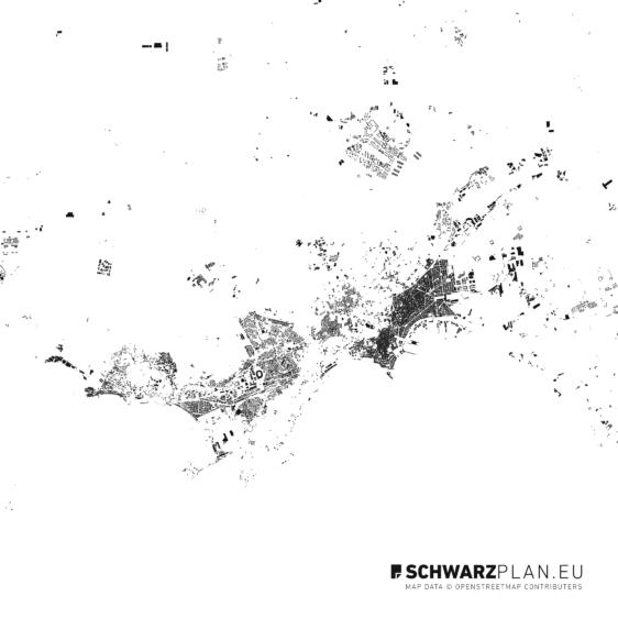 Schwarzplan von Neapel in Italien