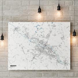 Stadtplan von Dresden gedruckt auf Leinwand