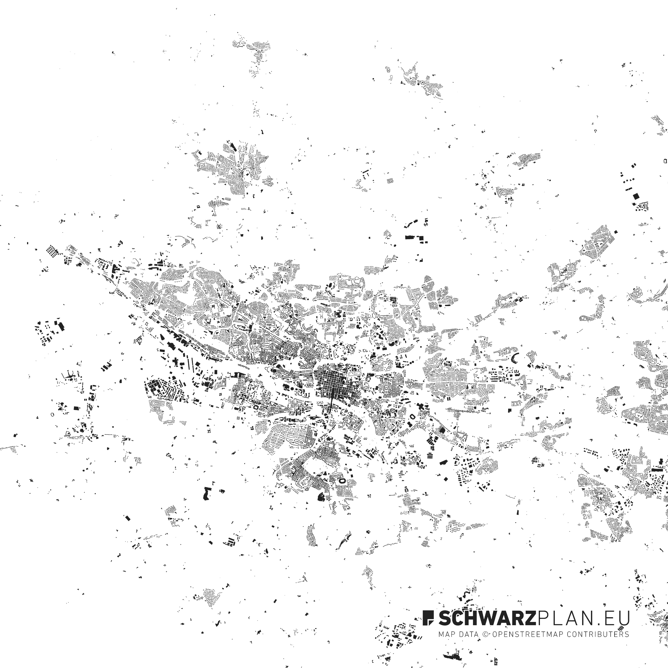 Schwarzplan von Glasgow in Schottland