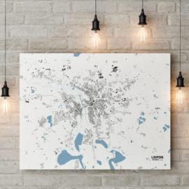 Stadtplan von Leipzig gedruckt auf Leinwand