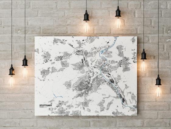 Stadtplan von Stuttgart gedruckt auf Leinwand