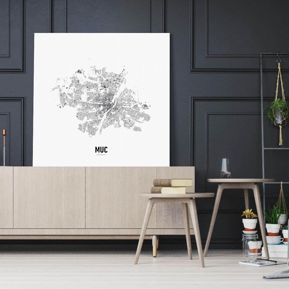 Minimal Map von München auf Leinwand