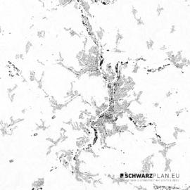 Schwarzplan von Siegen mit Höhenlinien
