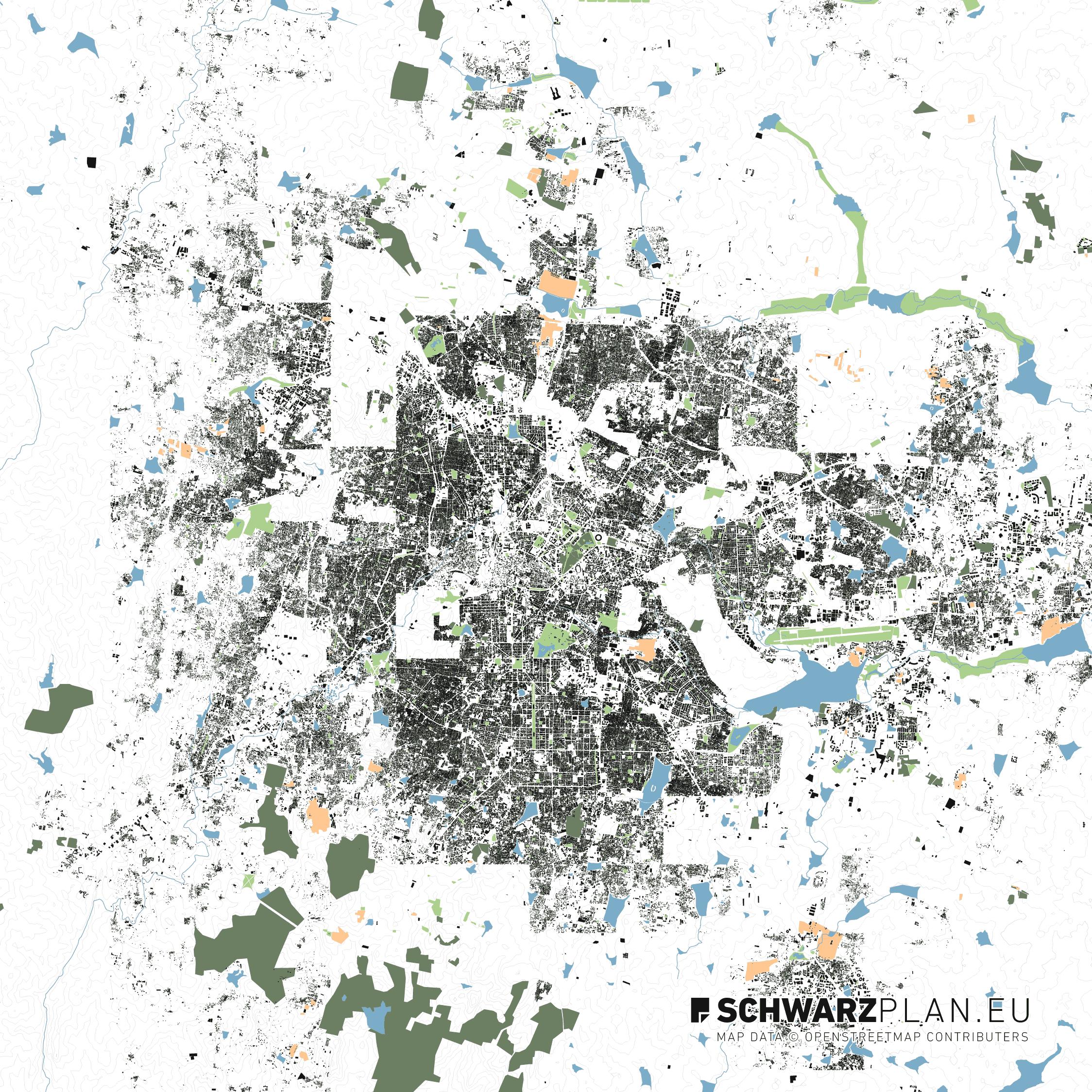 Lageplan von Bangalore in Indien