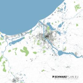 Lageplan von Riga mit Höhenlinien