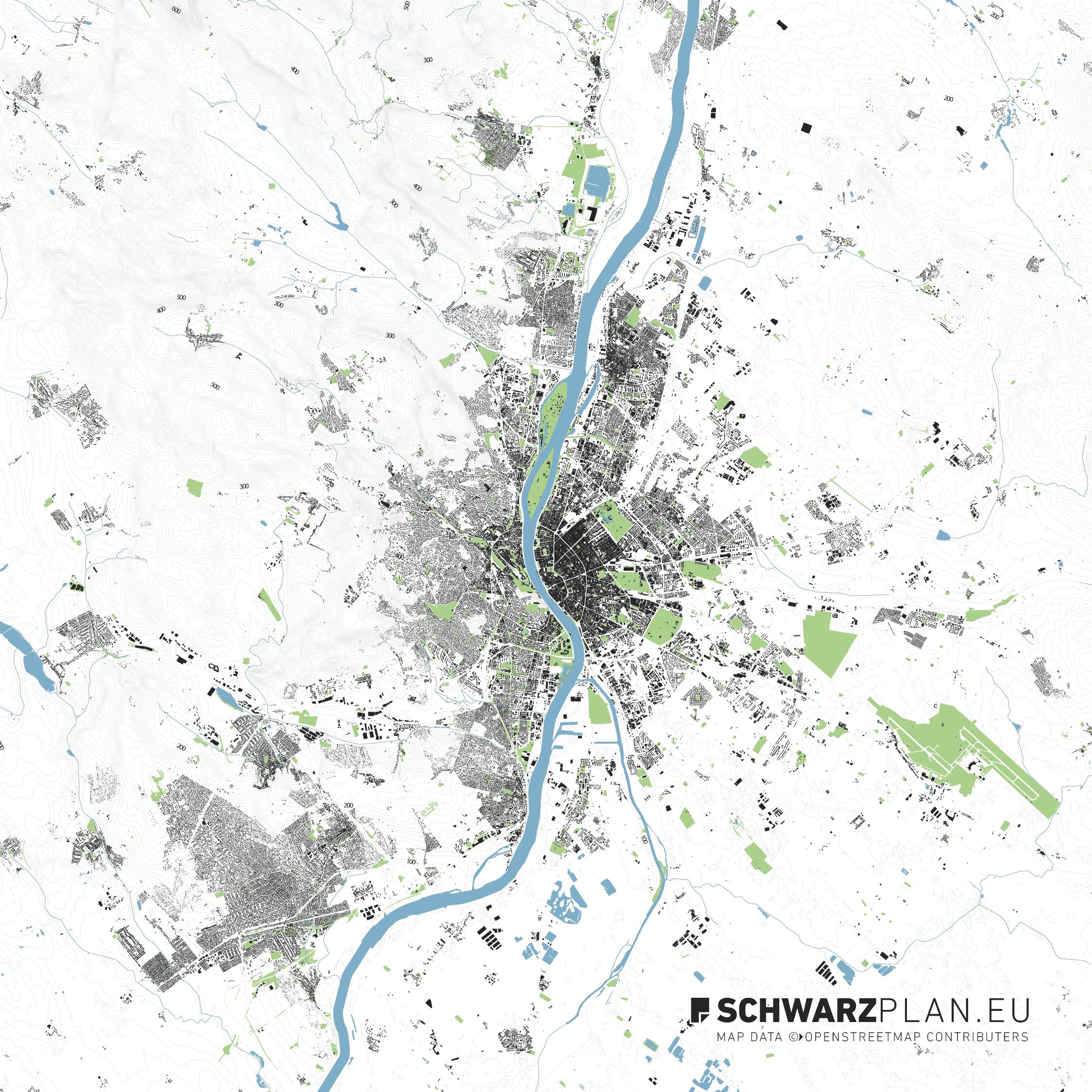 Lageplan von Budapest in Ungarn