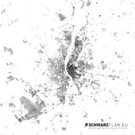 Schwarzplan von Budapest in Ungarn