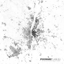 Schwarzplan von Budapest mit Höhenlinien