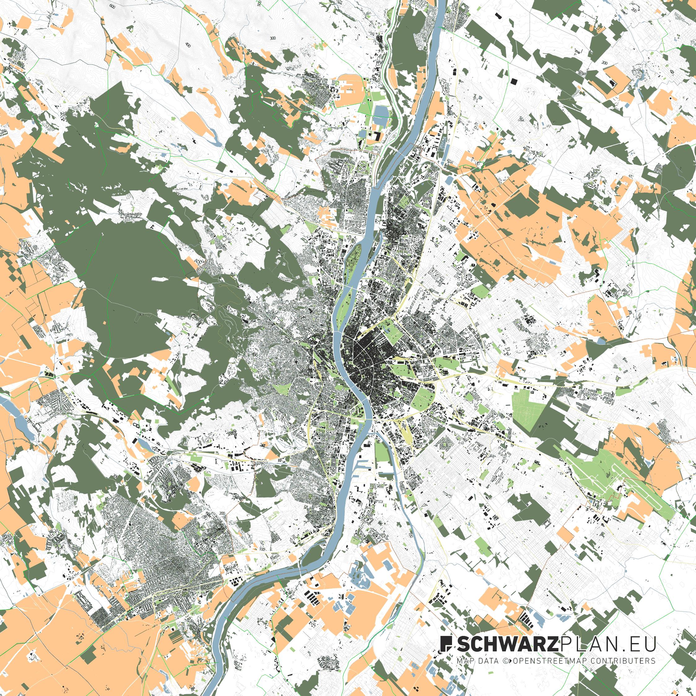 Stadtplan von Budapest in Ungarn