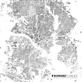 Schwarzplan von Dallas in den USA