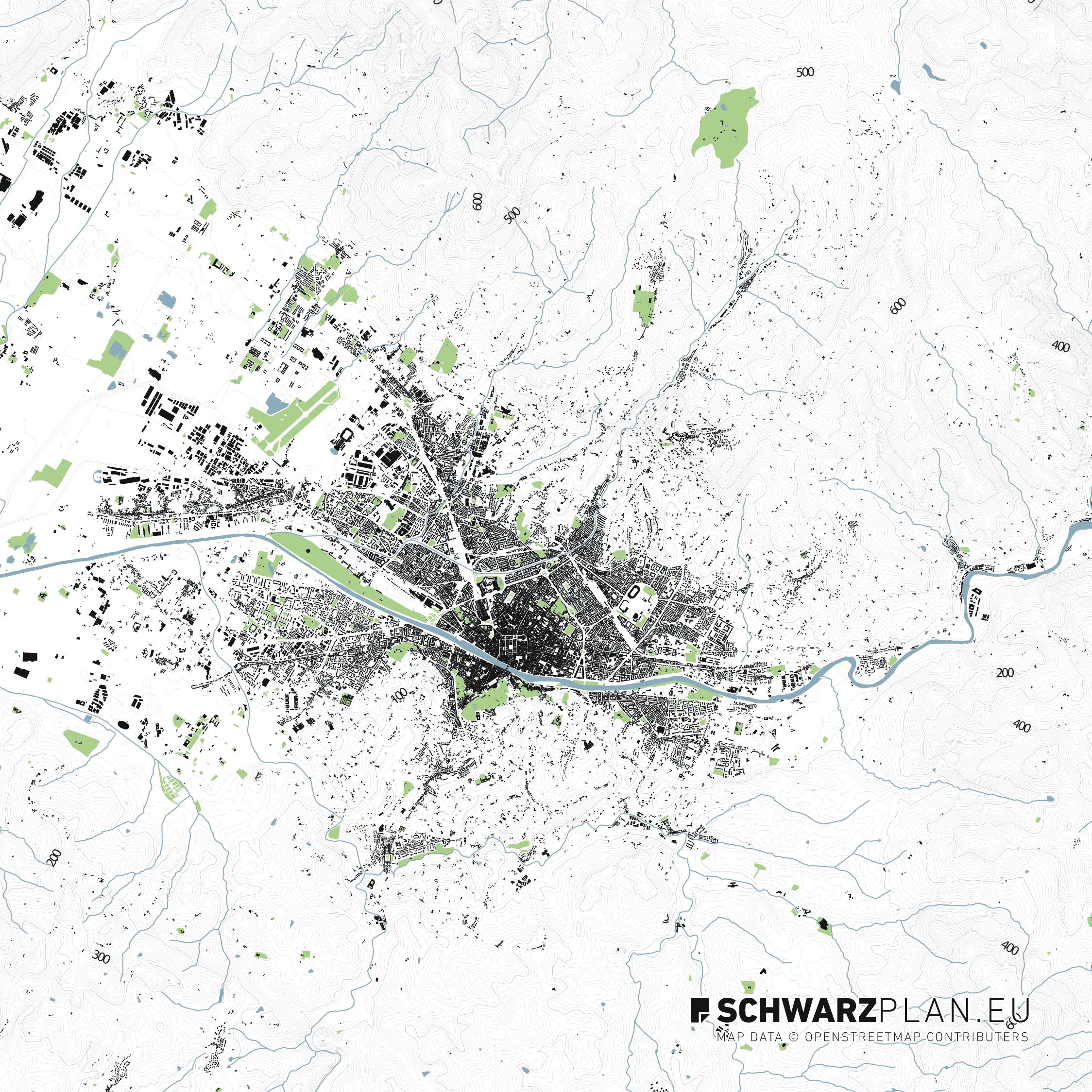Lageplan von Florenz in Italien