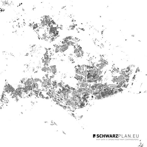 Schwarzplan von Singapur