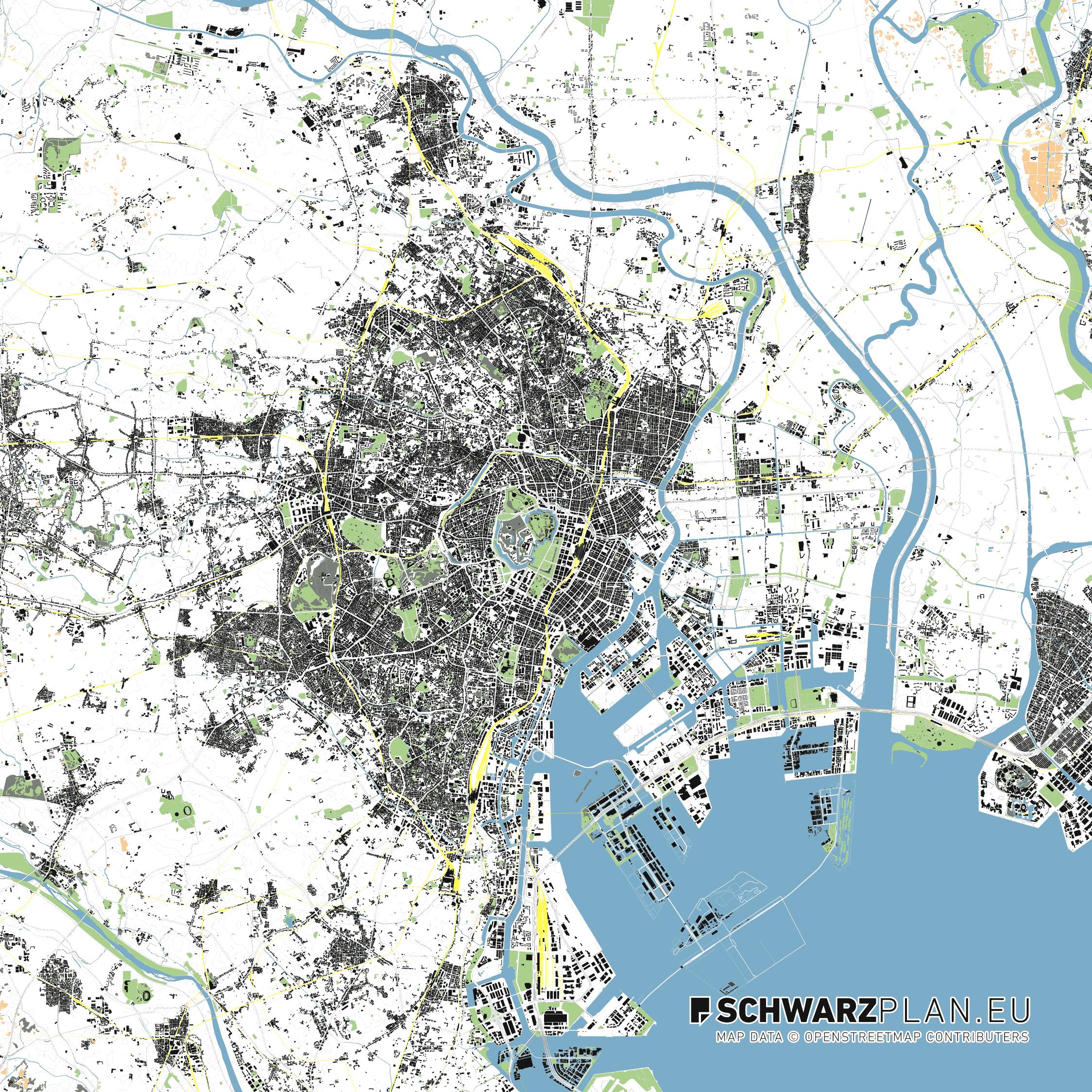 Site plan figure ground plan of tokyo for download as pdf lageplan von tokio in japan gumiabroncs Image collections