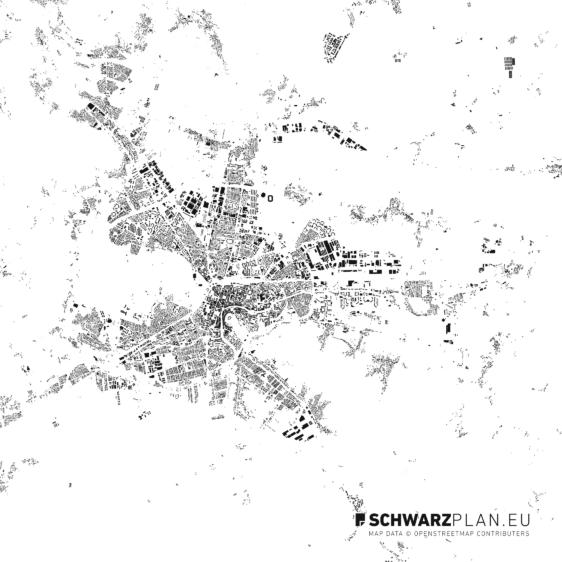 Schwarzplan von Ljubljana