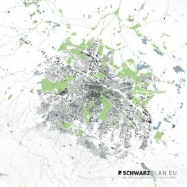 Lageplan von Sofia mit Höhenlinien