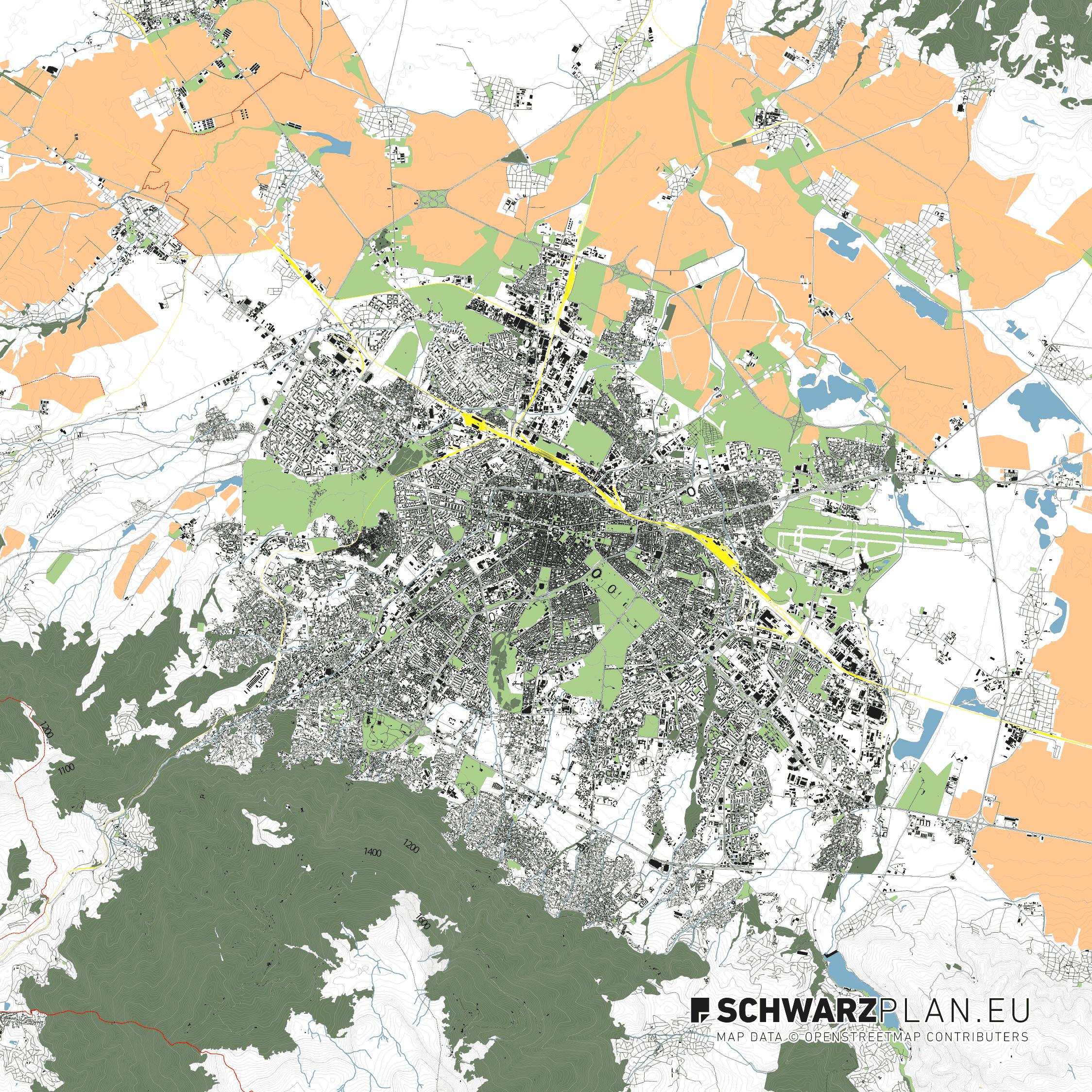 Lageplan von Sofia in Bulgarien