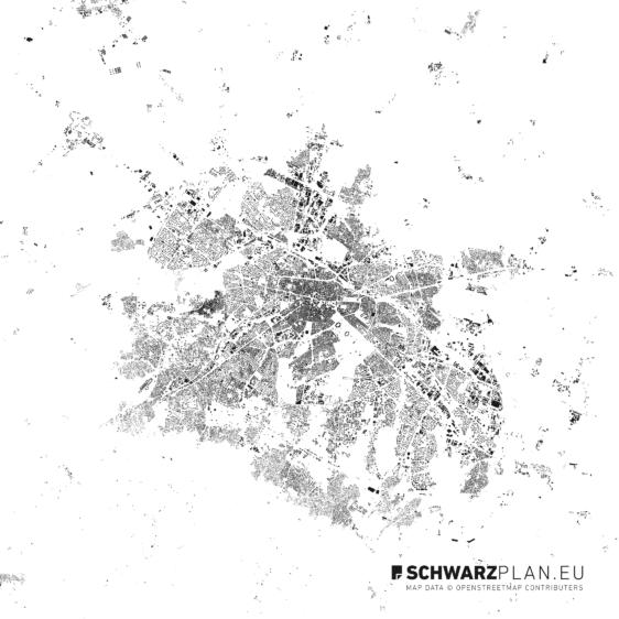 Figure ground plan of Sofia
