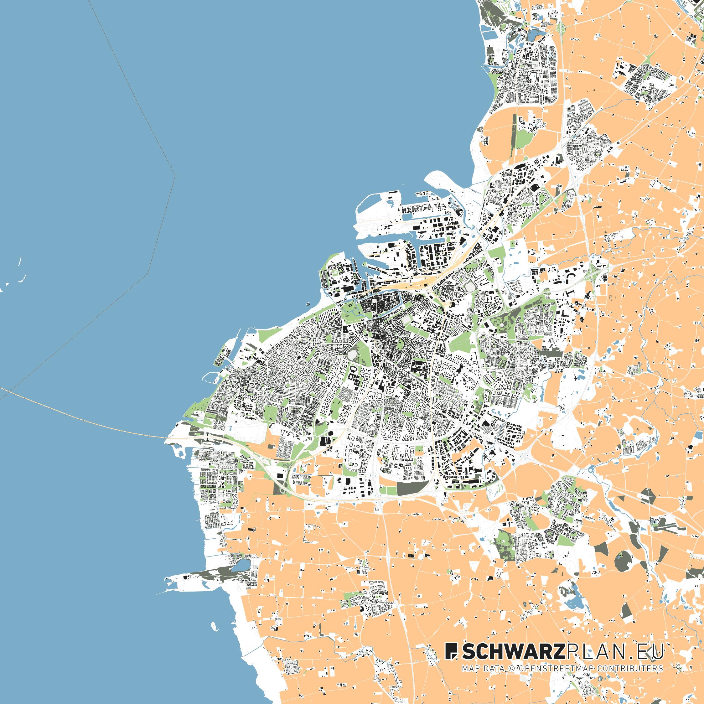 Lageplan von Malmö in Schweden