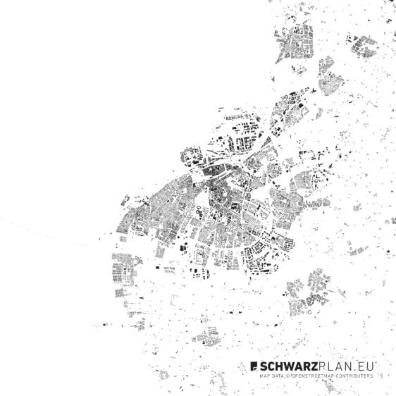Schwarzplan von Malmö in Schweden