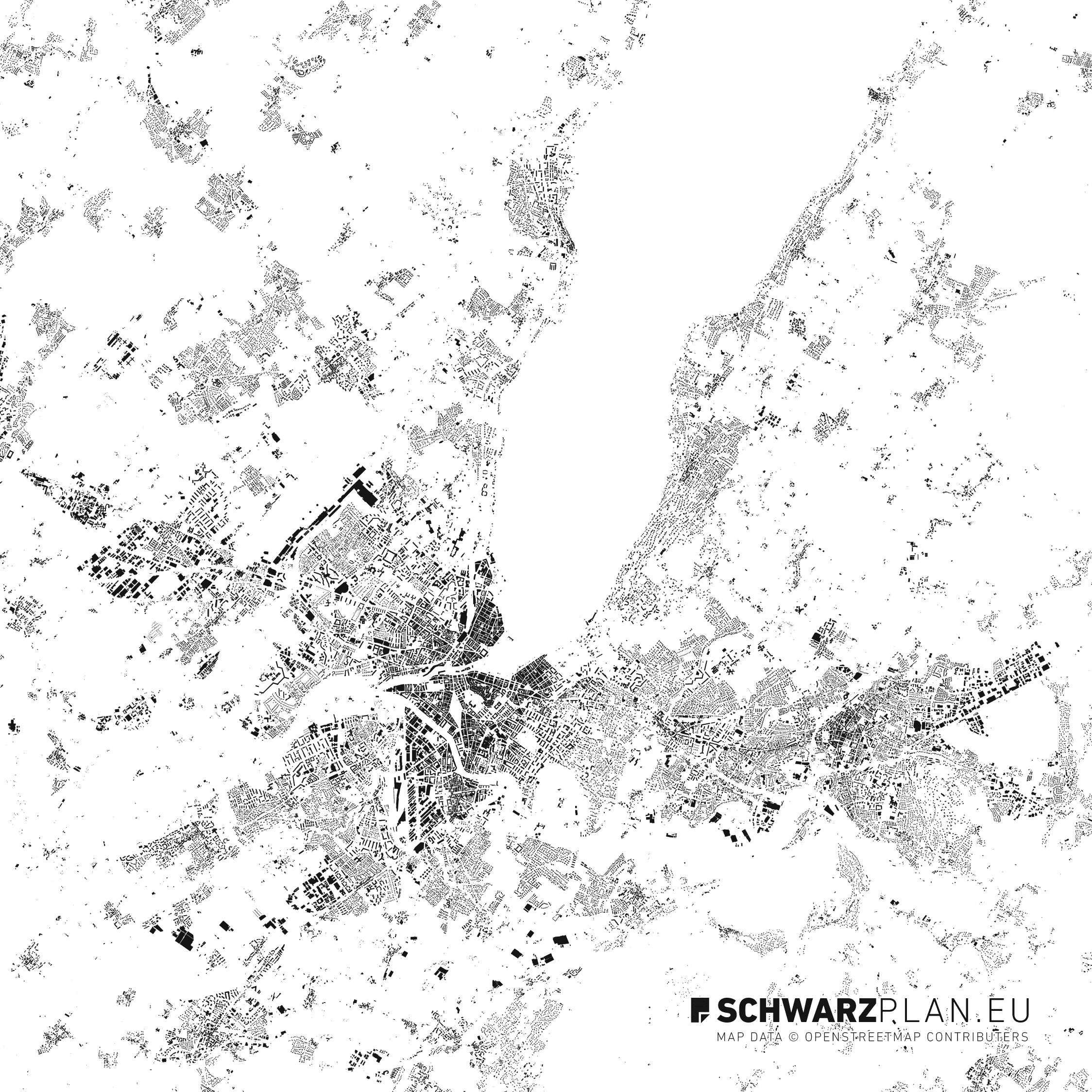 Lageplan & Schwarzplan von Genf zum Download als PDF on