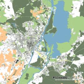 Lageplan von Stettin in Polen - Maßstab 1:100000