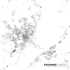 Schwarzplan von Stettin in Polen - Maßstab 1:100000