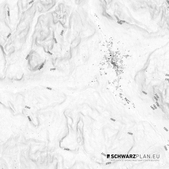 Schwarzplan von den Dolomiten / Cortina d'Ampezzo