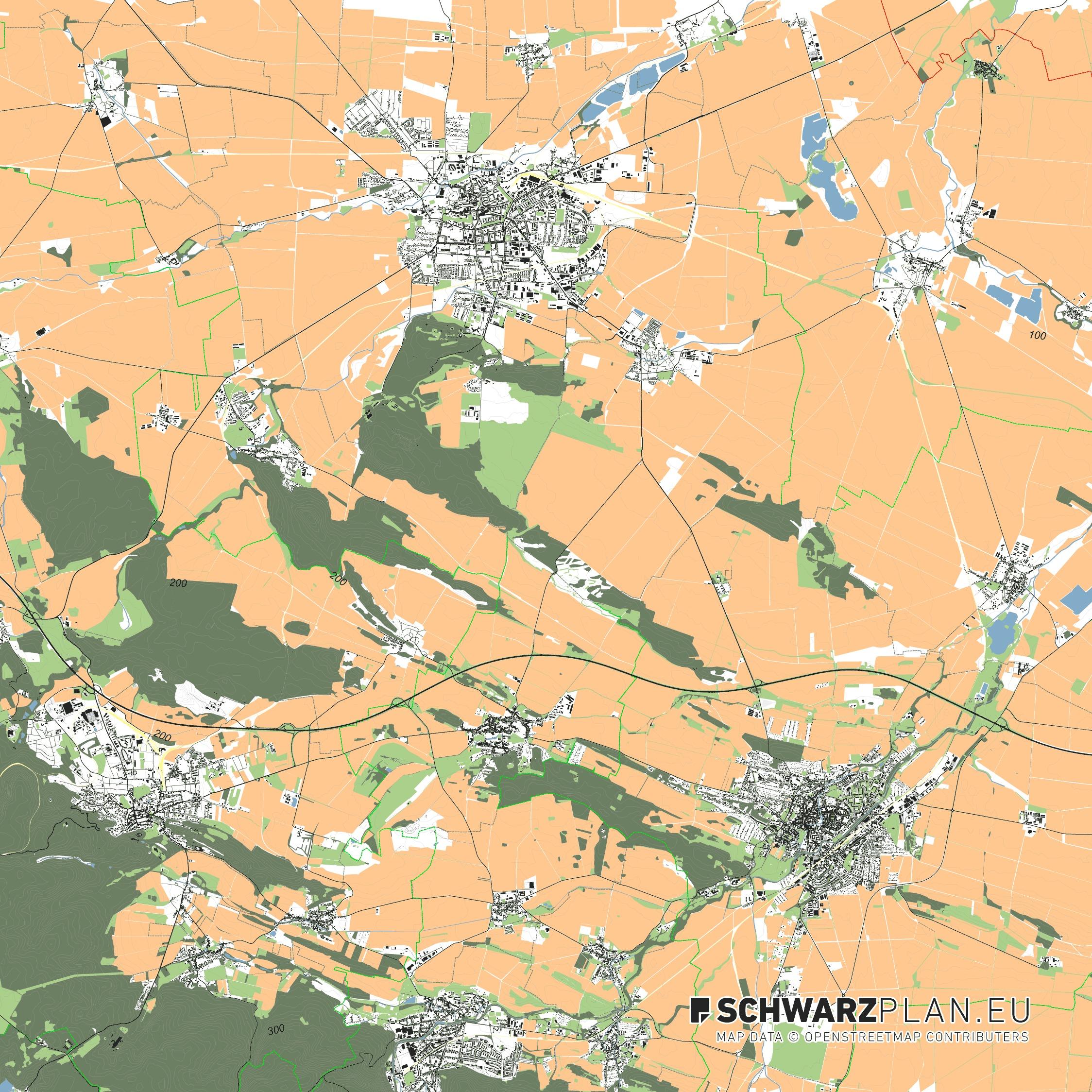 Lageplan Halberstadt - Quedlinburg - Blankenburg - Gernrode