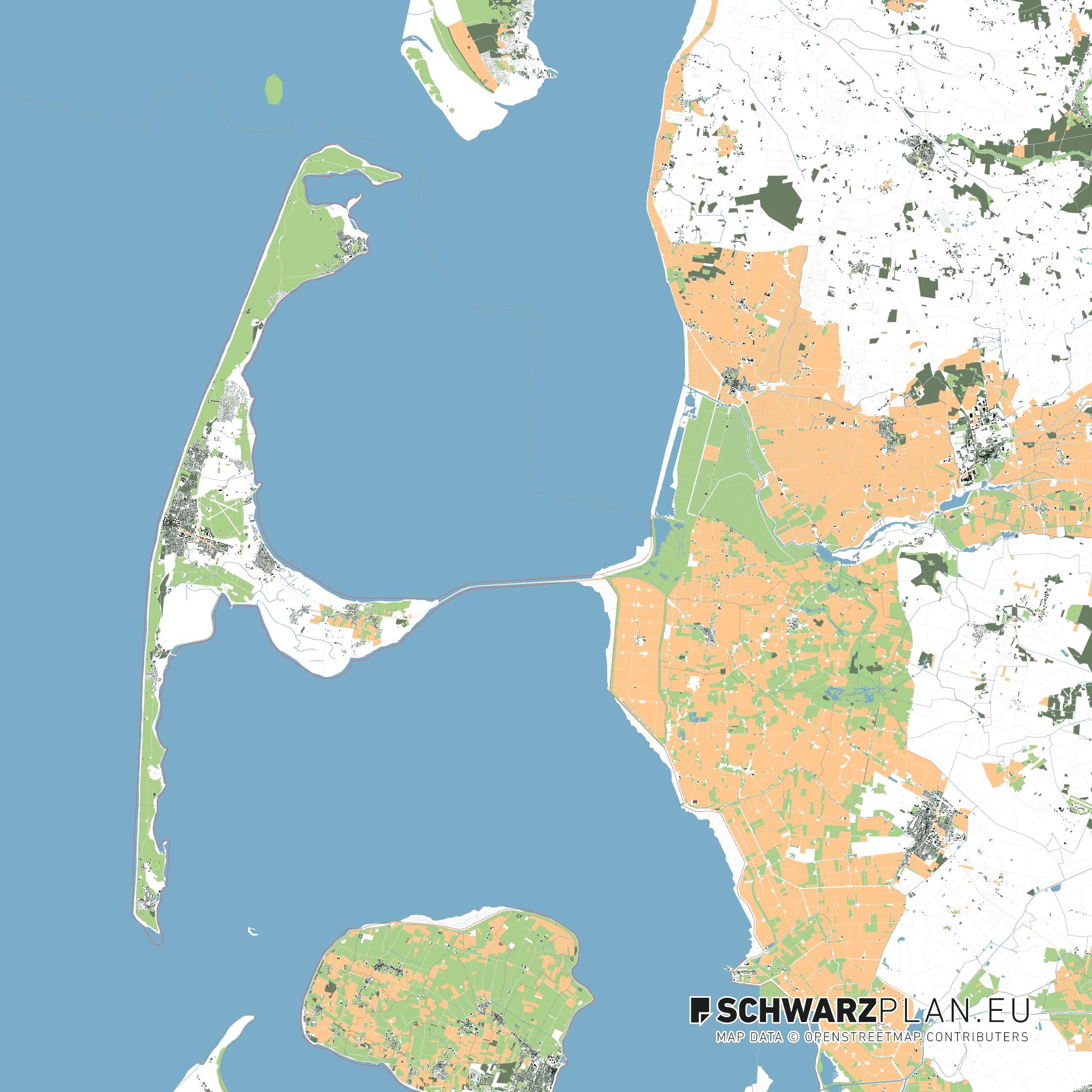 Lageplan von der Insel Sylt