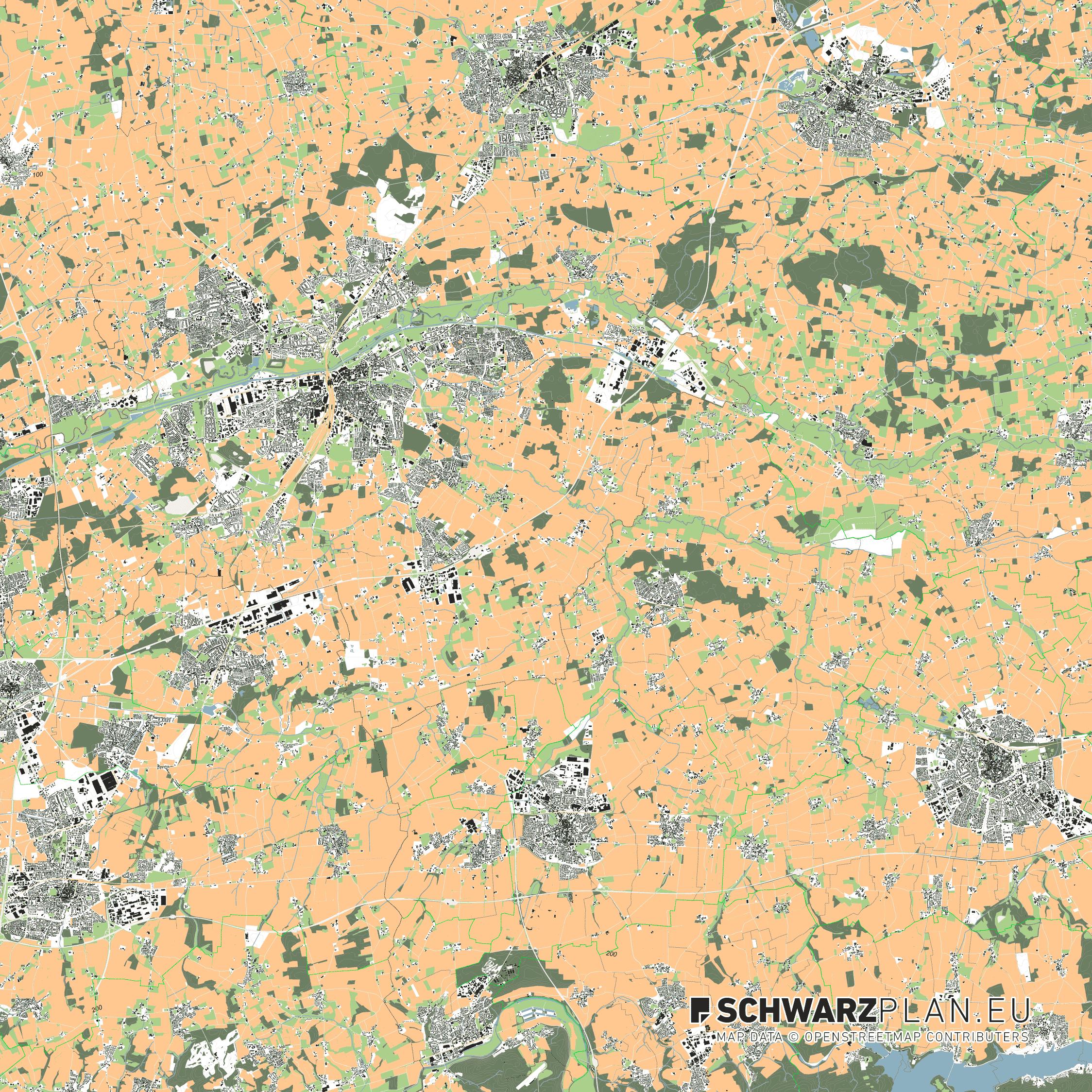 Lageplan von Hamm und Soest