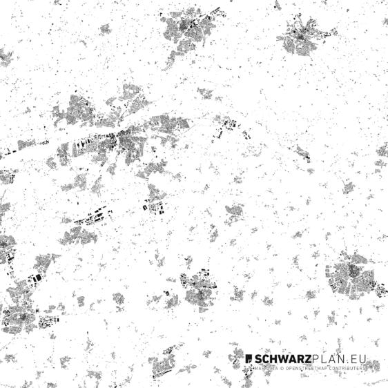 Schwarzplan von Hamm und Soest