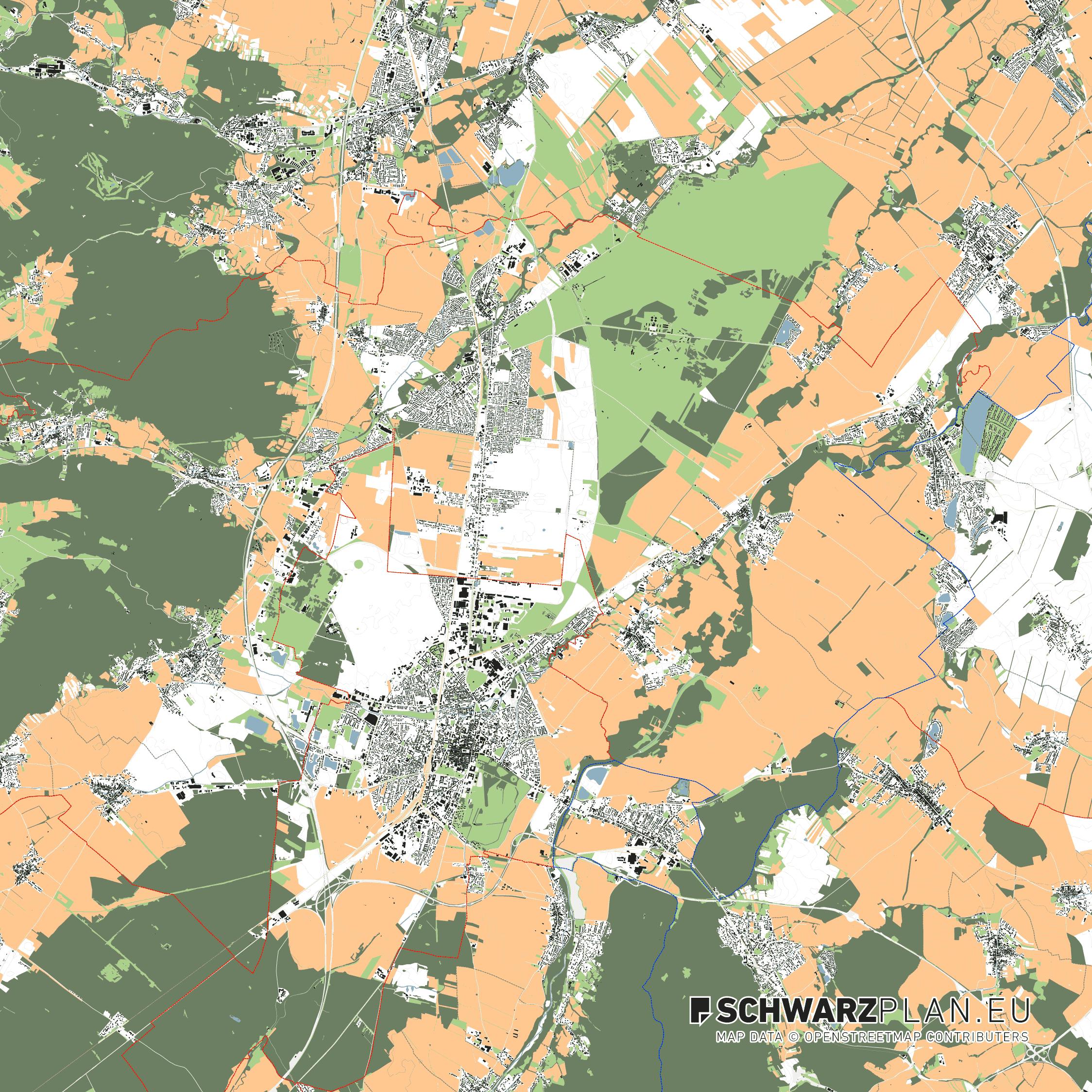 Lageplan von Eisenstadt & Wiener Neustadt in Österreich