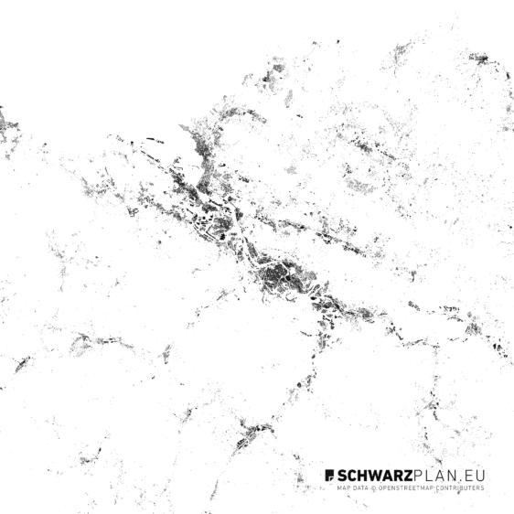 Schwarzplan von Bilbao in Spanien